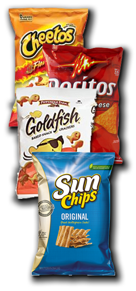Chips, pretzels and mixes for vending machines
